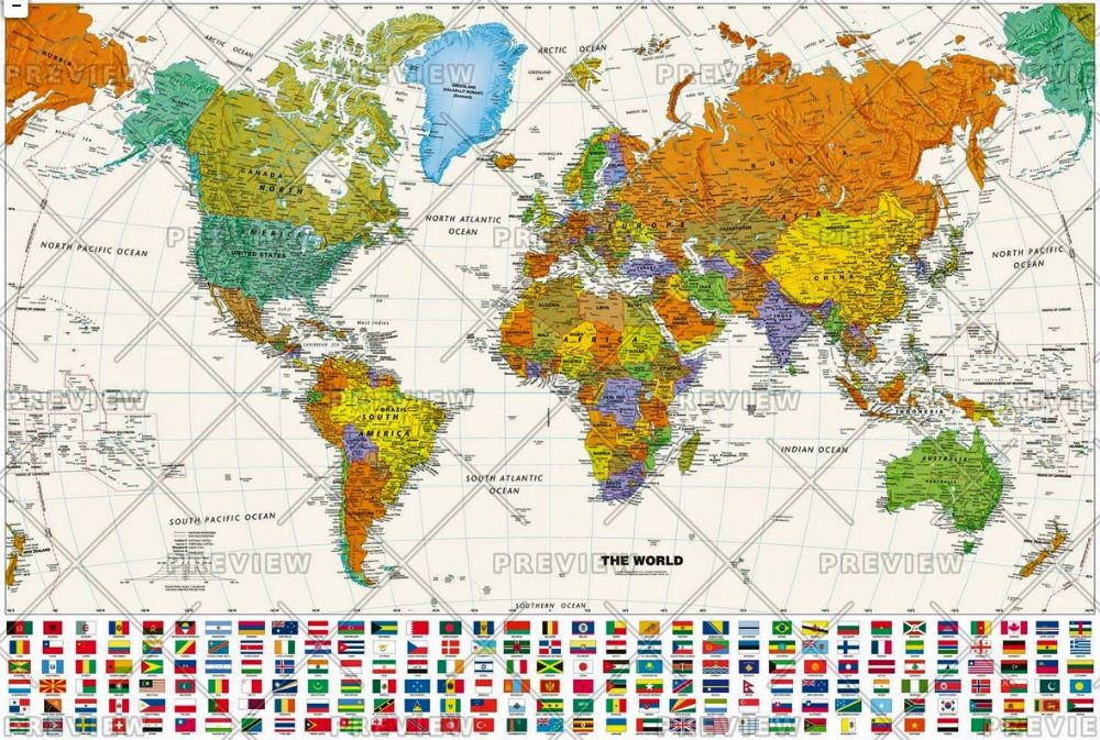 Contemporary World Wall Map With Flags By Globe Turner - Wall maps of the world